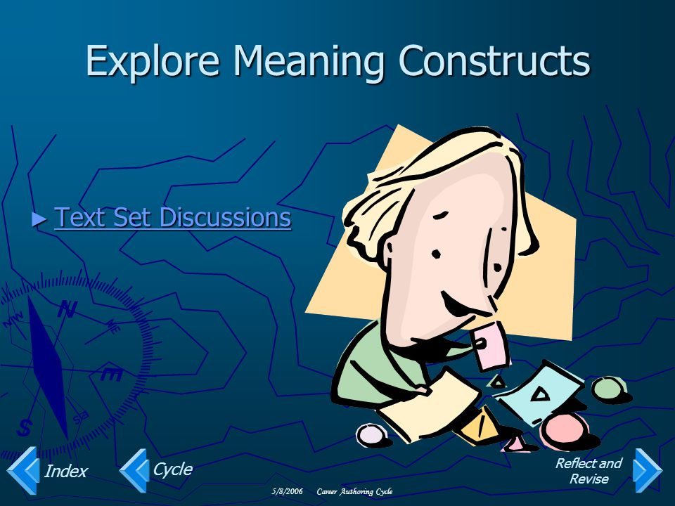 5/8/2006Career Authoring Cycle Explore Meaning Constructs ► Text Set Discussions Text Set Discussions Text Set Discussions Cycle Index Reflect and Revise