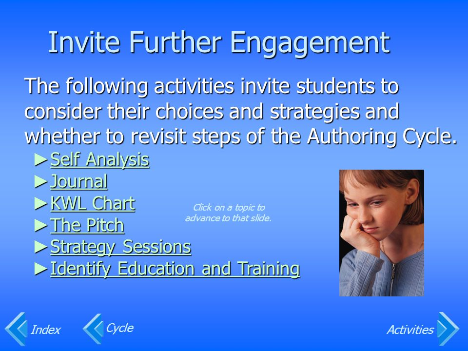 Invite Further Engagement The following activities invite students to consider their choices and strategies and whether to revisit steps of the Authoring Cycle.