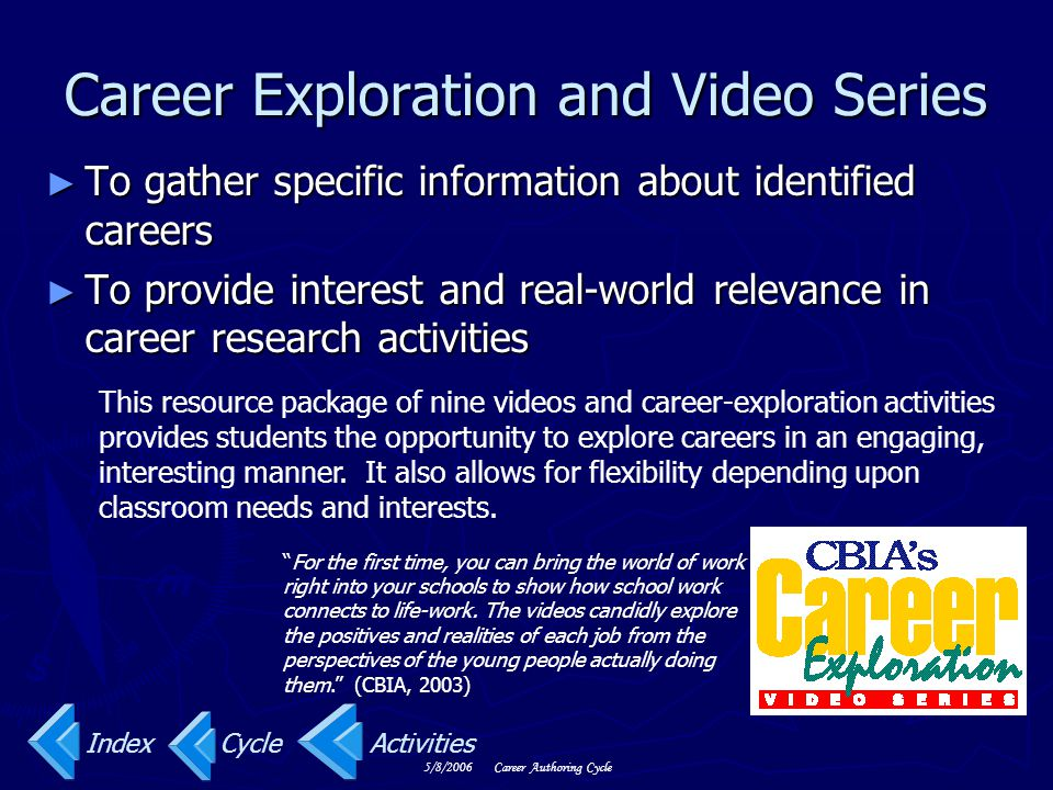 5/8/2006Career Authoring Cycle Career Exploration and Video Series ► To gather specific information about identified careers ► To provide interest and real-world relevance in career research activities For the first time, you can bring the world of work right into your schools to show how school work connects to life-work.