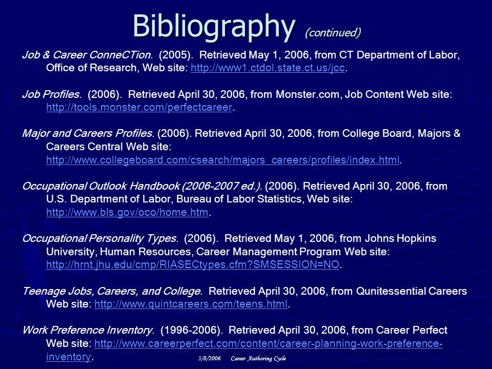 5/8/2006Career Authoring Cycle Bibliography (continued) Job & Career ConneCTion.
