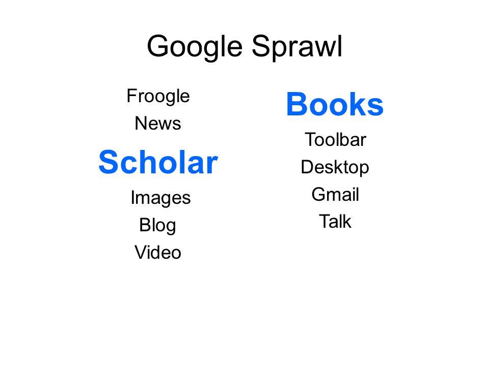Google Sprawl Froogle News Scholar Images Blog Video Books Toolbar Desktop Gmail Talk