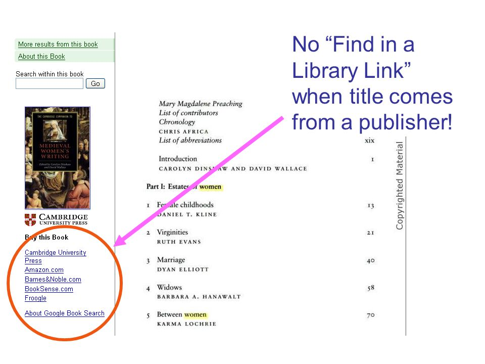 """No """"Find in a Library Link"""" when title comes from a publisher!"""