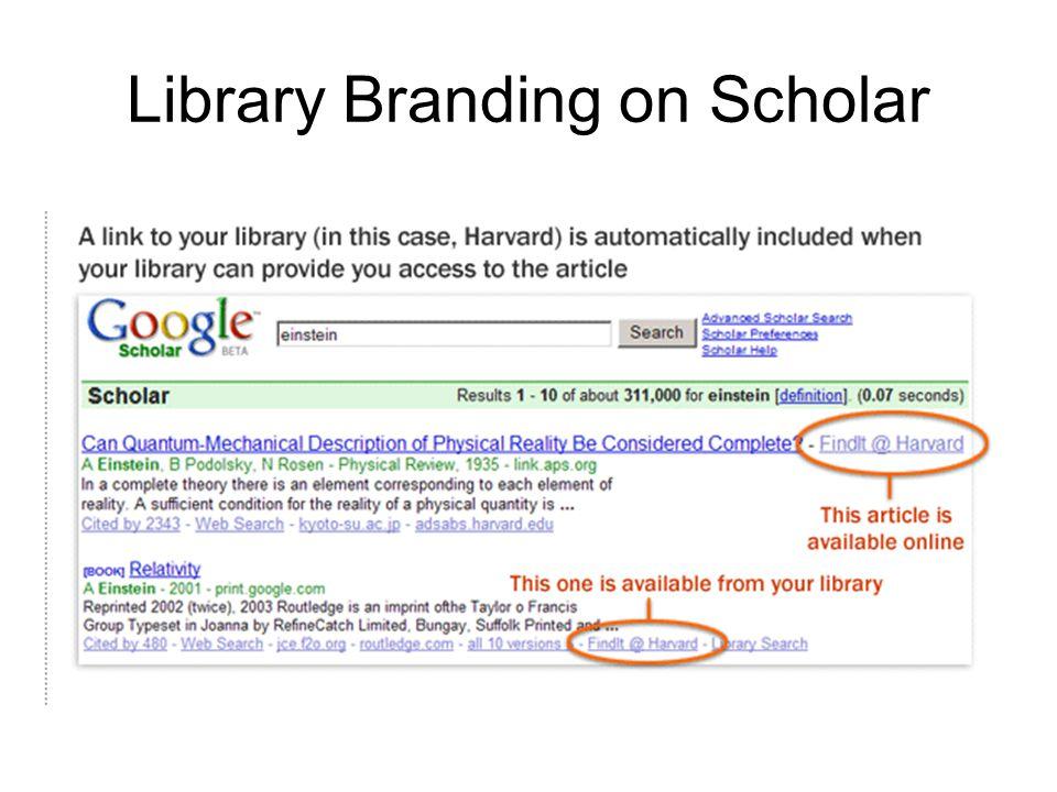 Library Branding on Scholar