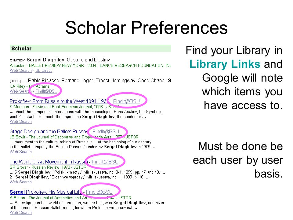 Scholar Preferences Find your Library in Library Links and Google will note which items you have access to.
