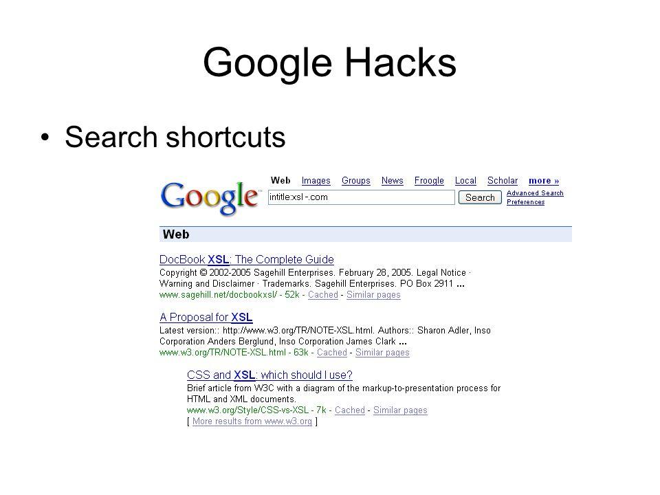 Google Hacks Search shortcuts