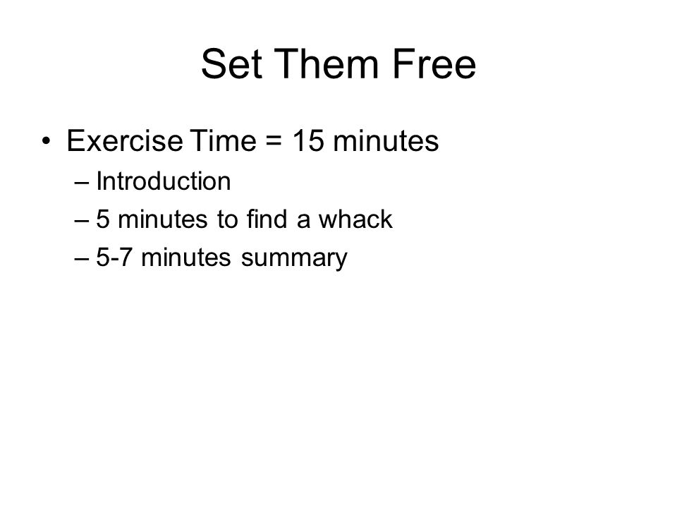 Set Them Free Exercise Time = 15 minutes –Introduction –5 minutes to find a whack –5-7 minutes summary
