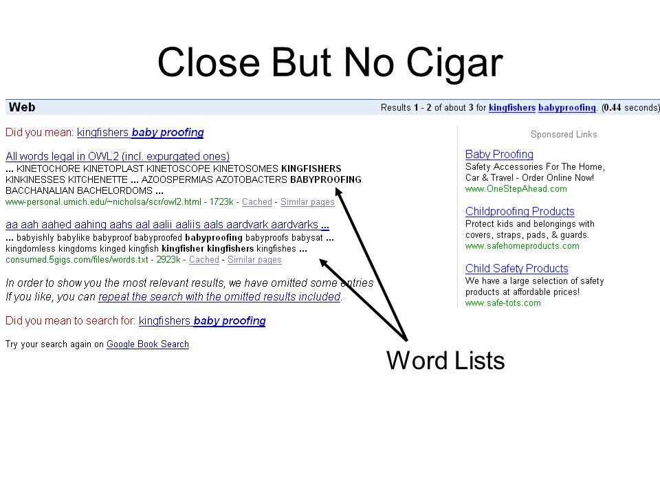 Close But No Cigar Word Lists