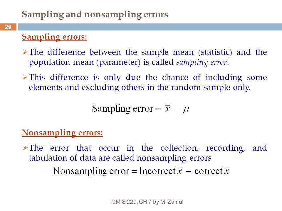 QMIS 220, CH 7 by M. Zainal 29 Sampling and nonsampling errors Sampling errors:  The difference between the sample mean (statistic) and the populatio