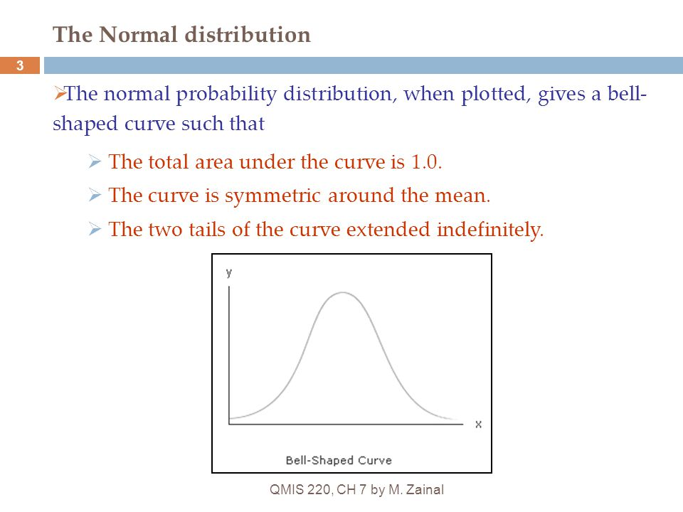 QMIS 220, CH 7 by M. Zainal 3 The Normal distribution  The normal probability distribution, when plotted, gives a bell- shaped curve such that  The