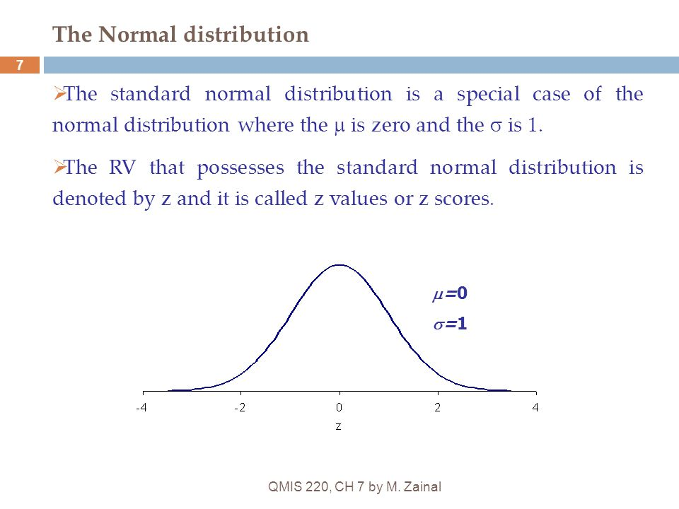QMIS 220, CH 7 by M. Zainal 7 The Normal distribution  The standard normal distribution is a special case of the normal distribution where the  is z