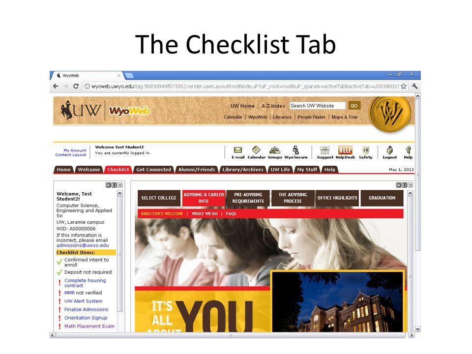 The Checklist Tab
