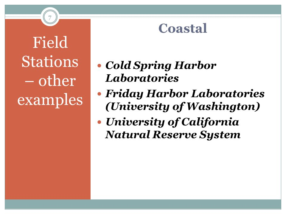 An Example Marine Biological Laboratory Founded in 1888 International center for research and education in biology, biomedicine and ecology Coastal setting – Woods Hole, MA 53 MBL affiliated scientists have been awarded the Nobel Prize 6