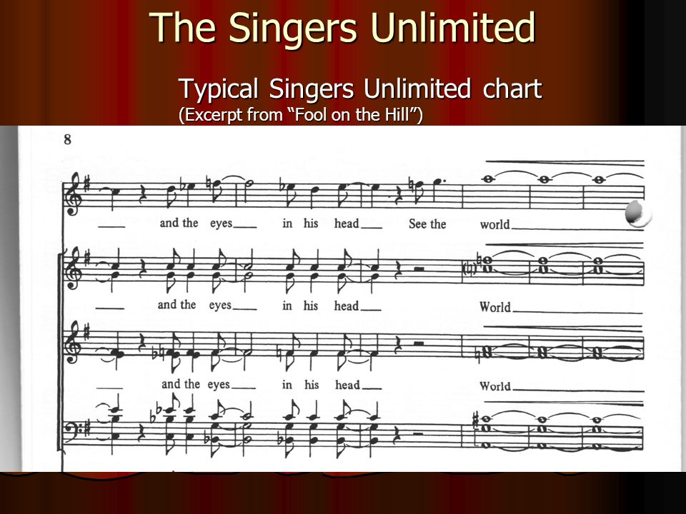 "The Singers Unlimited Typical Singers Unlimited chart (Excerpt from ""Fool on the Hill"")"