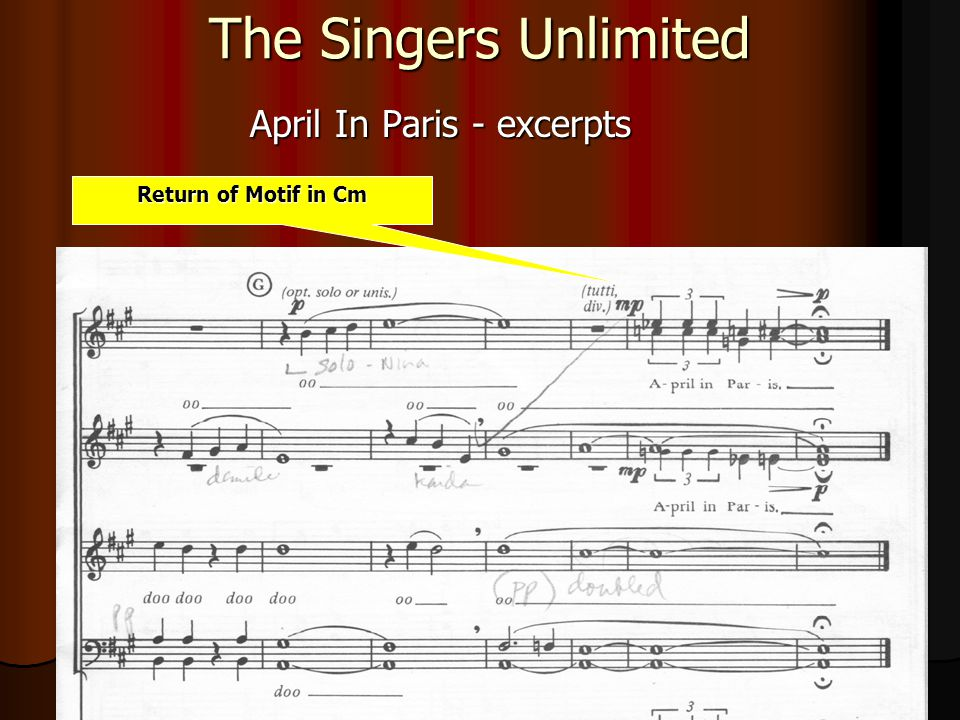 The Singers Unlimited April In Paris - excerpts Return of Motif in Cm