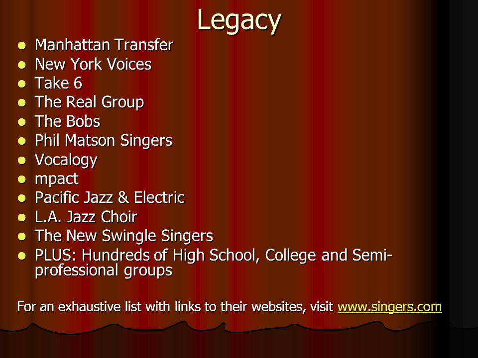Legacy Manhattan Transfer Manhattan Transfer New York Voices New York Voices Take 6 Take 6 The Real Group The Real Group The Bobs The Bobs Phil Matson