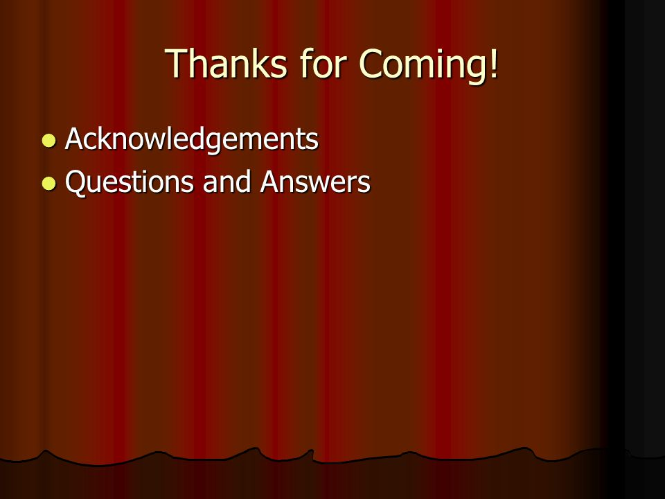 Thanks for Coming! Acknowledgements Acknowledgements Questions and Answers Questions and Answers