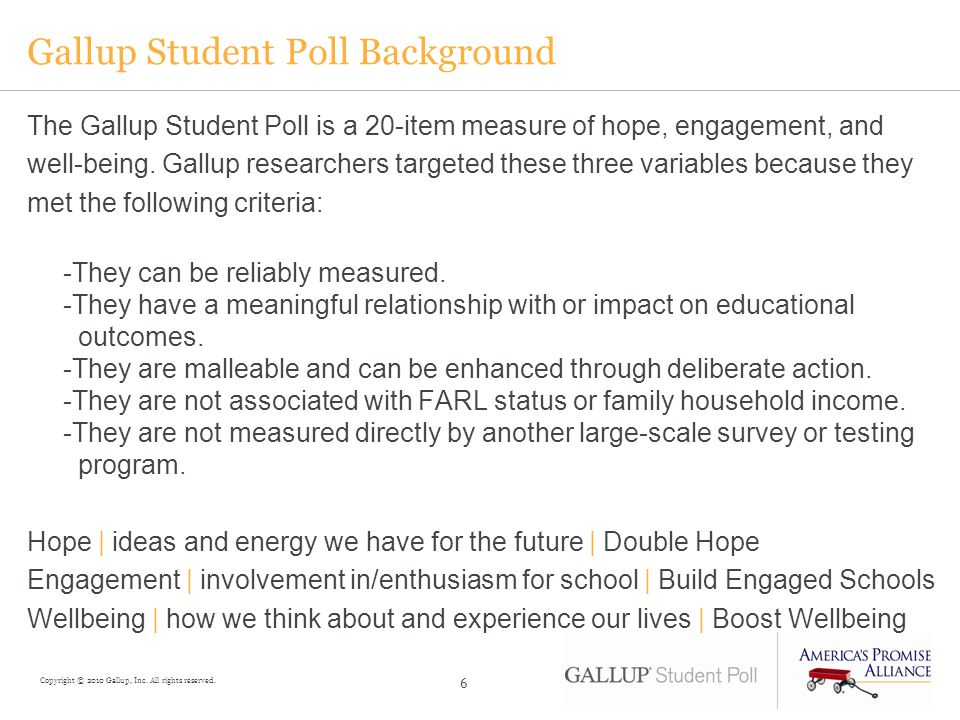 Gallup Student Poll Background The Gallup Student Poll is a 20-item measure of hope, engagement, and well-being.