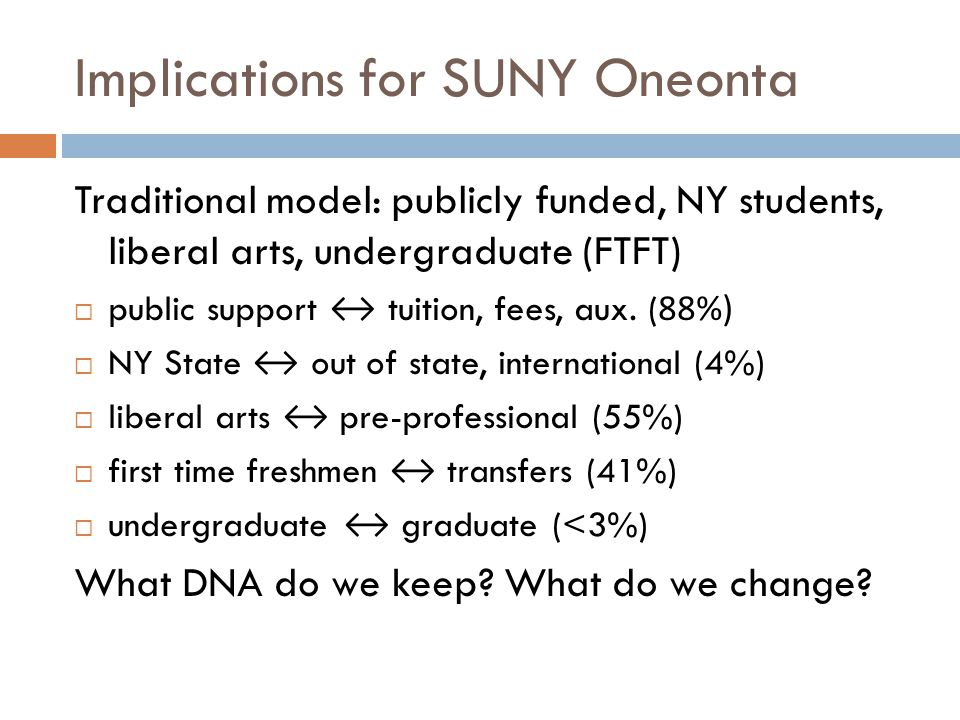 Implications for SUNY Oneonta Traditional model: publicly funded, NY students, liberal arts, undergraduate (FTFT)  public support ↔ tuition, fees, au