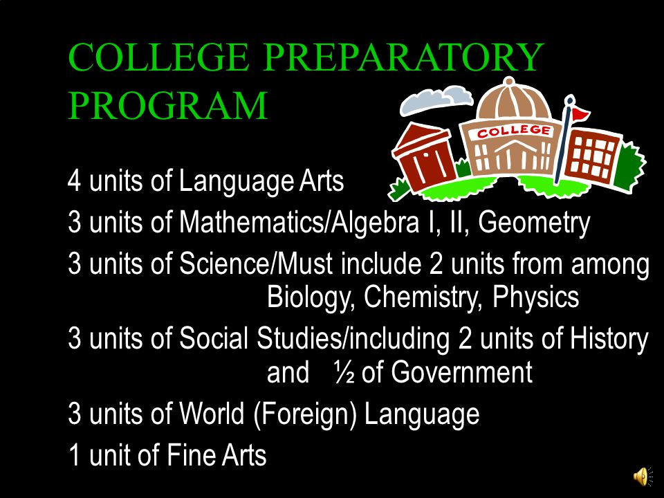 COLLEGE PREPARATORY PROGRAM 4 units of Language Arts 3 units of Mathematics/Algebra I, II, Geometry 3 units of Science/Must include 2 units from among Biology, Chemistry, Physics 3 units of Social Studies/including 2 units of History and½ of Government 3 units of World (Foreign) Language 1 unit of Fine Arts