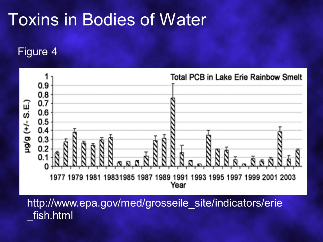 Toxins in Bodies of Water http://www.epa.gov/med/grosseile_site/indicators/erie _fish.html Figure 4