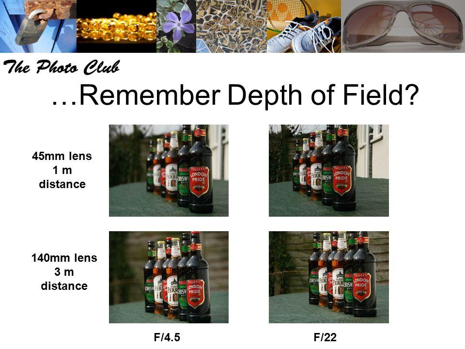 …Remember Depth of Field? F/4.5F/22 45mm lens 1 m distance 140mm lens 3 m distance