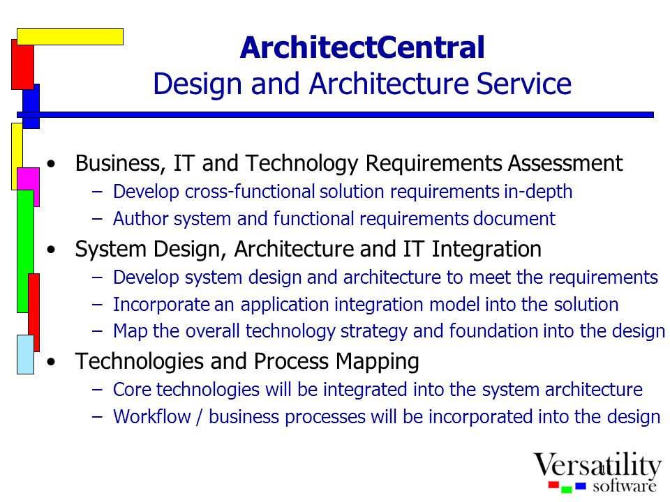 11 ArchitectCentral Design and Architecture Service Business, IT and Technology Requirements Assessment –Develop cross-functional solution requirement