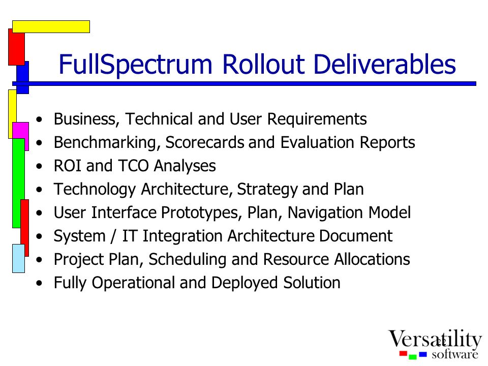 22 FullSpectrum Rollout Deliverables Business, Technical and User Requirements Benchmarking, Scorecards and Evaluation Reports ROI and TCO Analyses Te