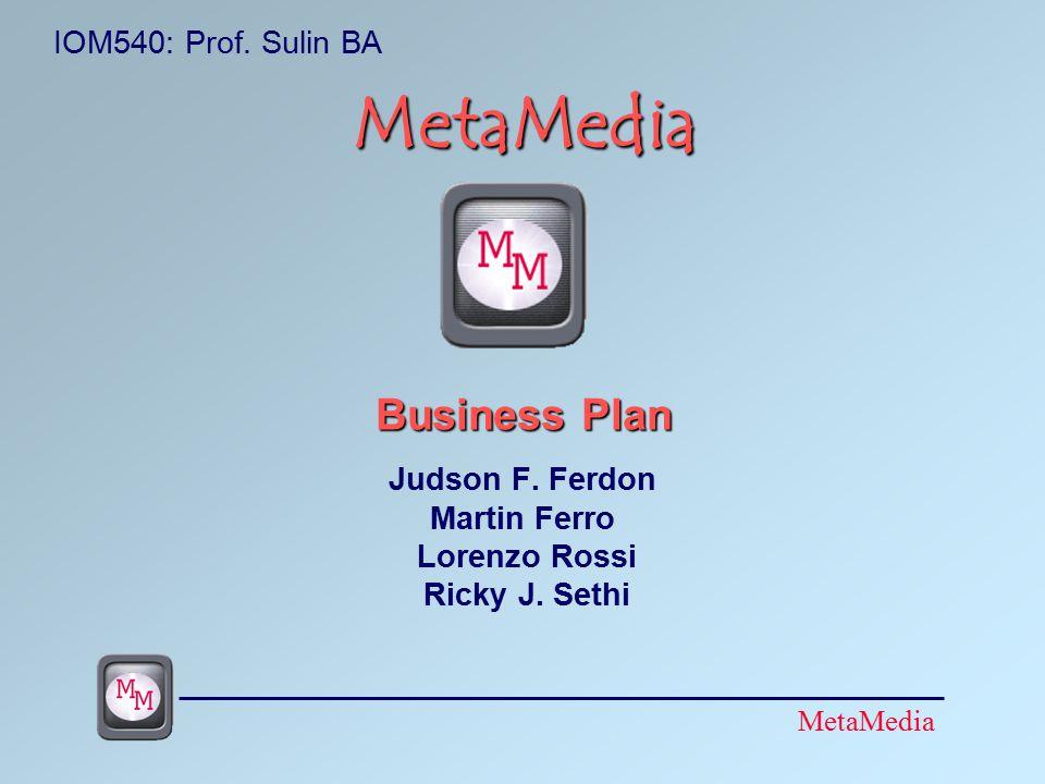 MetaMedia MetaMedia Business Plan Judson F. Ferdon Martin Ferro Lorenzo Rossi Ricky J.