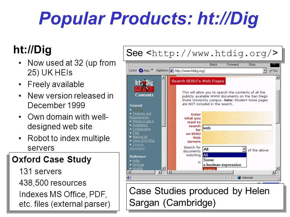 5 Popular Products: Ultraseek Ultraseek: Used at 9 (up from 7) UK HEIs Powerful but expensive See Cambridge Case Study 232 servers 188,000 resources Weightings given to meta tags Useful logs and reports Cambridge Case Study 232 servers 188,000 resources Weightings given to meta tags Useful logs and reports