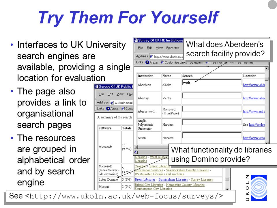 8 Try Them For Yourself Interfaces to UK University search engines are available, providing a single location for evaluation The page also provides a link to organisational search pages The resources are grouped in alphabetical order and by search engine What functionality do libraries using Domino provide.