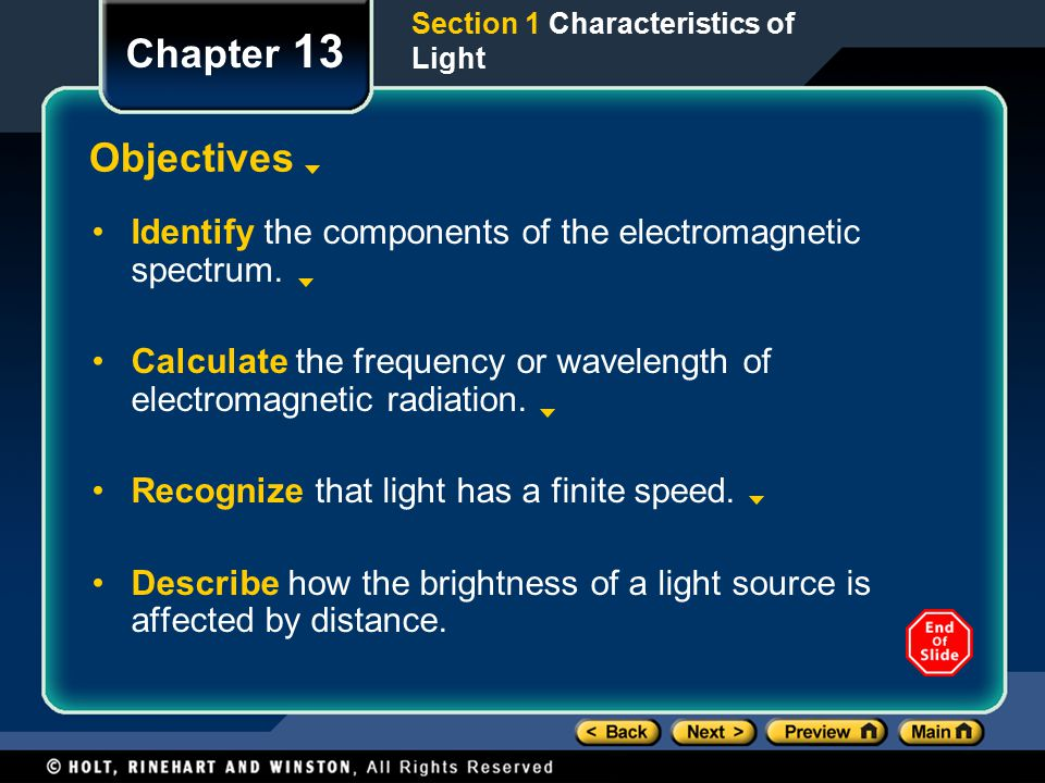 Chapter 13 Objectives Identify the components of the electromagnetic spectrum.