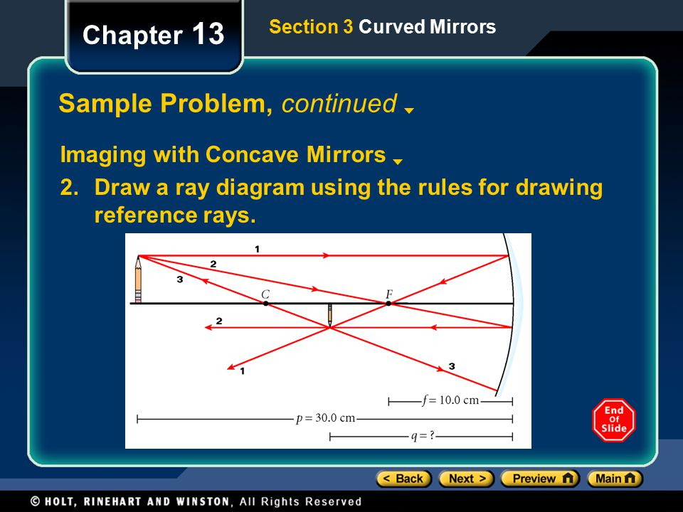 Section 3 Curved Mirrors Chapter 13 Sample Problem, continued Imaging with Concave Mirrors 2.Draw a ray diagram using the rules for drawing reference rays.