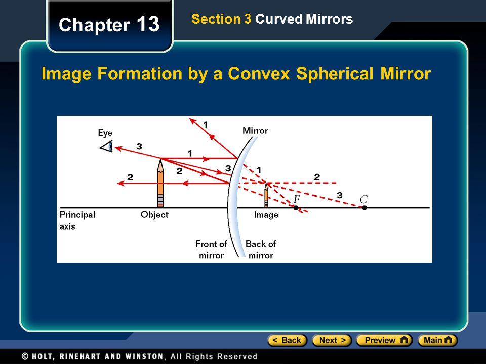 Chapter 13 Image Formation by a Convex Spherical Mirror Section 3 Curved Mirrors