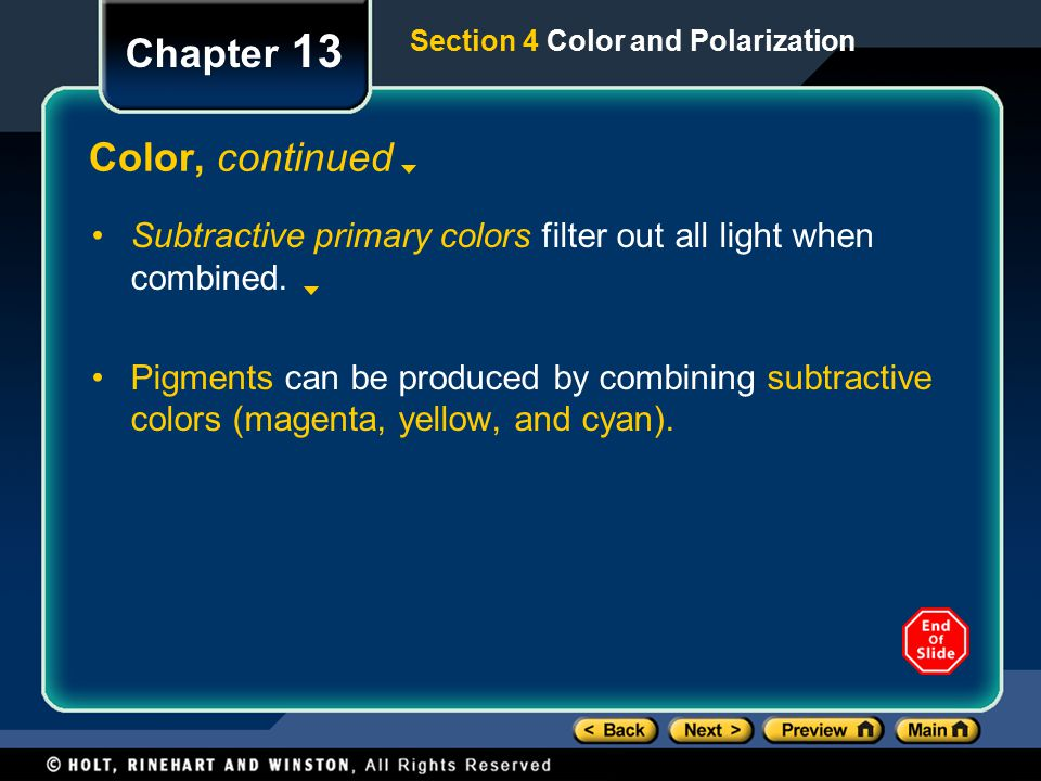 Section 4 Color and Polarization Chapter 13 Color, continued Subtractive primary colors filter out all light when combined.