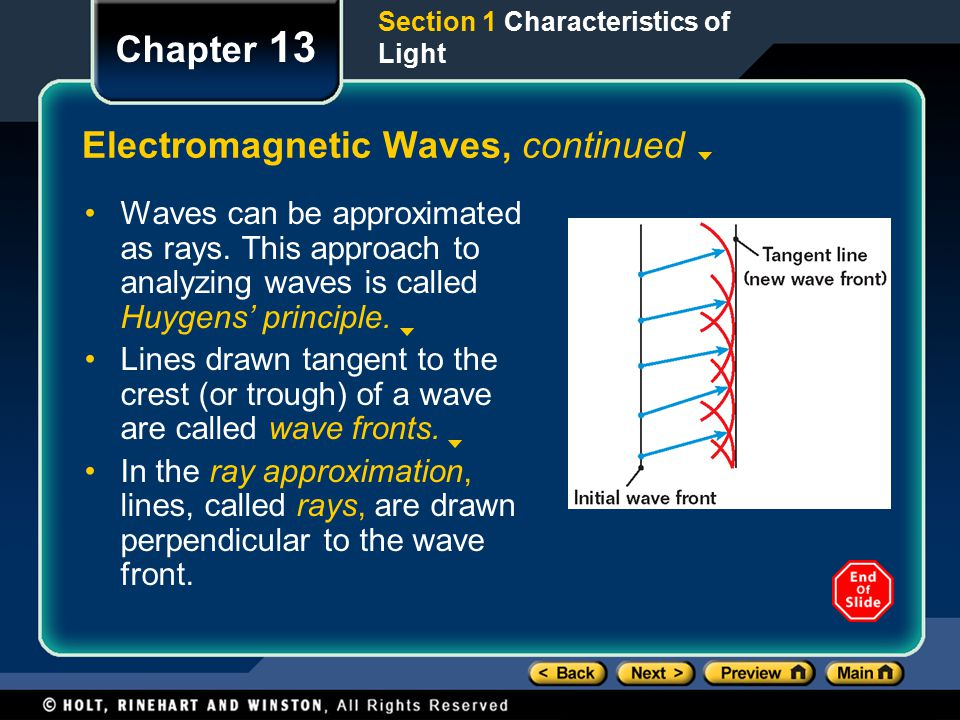 Section 1 Characteristics of Light Chapter 13 Electromagnetic Waves, continued Waves can be approximated as rays.