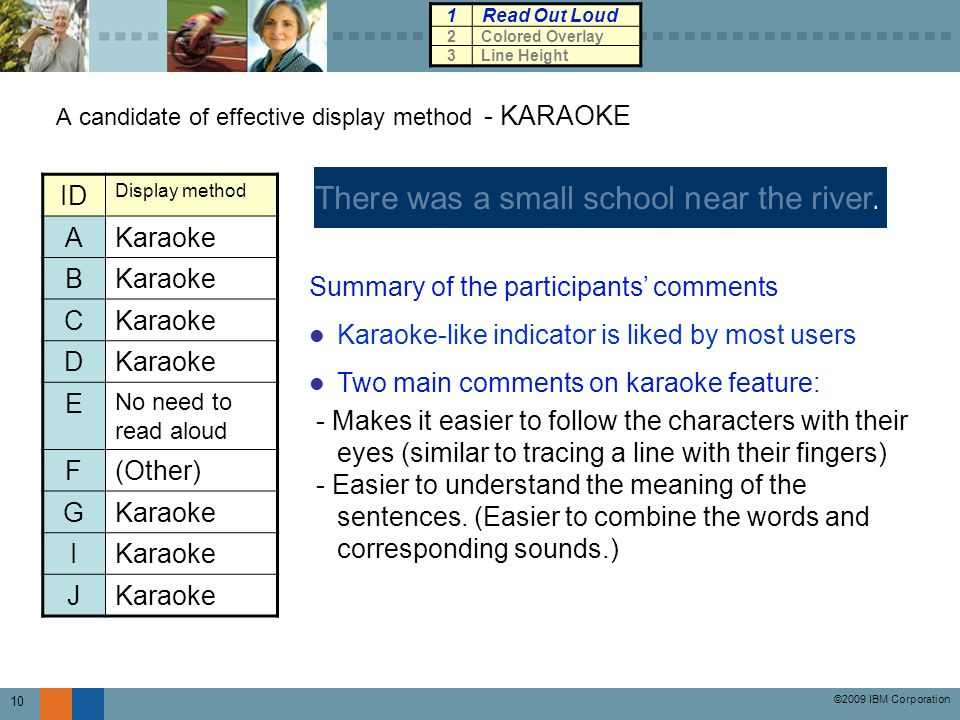 ©2009 IBM Corporation 10 A candidate of effective display method - KARAOKE There was a small school near the river.