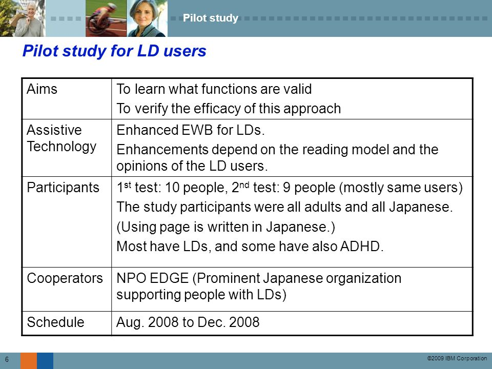 ©2009 IBM Corporation 7 Evaluators of the pilot study Summary of the participants They also have writing problems like confused p and q, or time and tiem and so on.