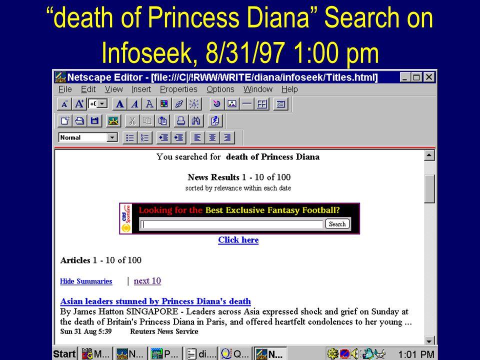 death of Princess Diana Search on Infoseek, 8/31/97 1:00 pm