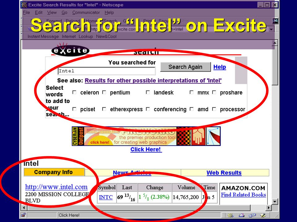 Search for Intel on Excite