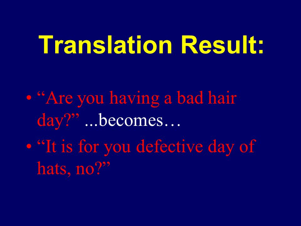 Translation Result: Are you having a bad hair day ...becomes… It is for you defective day of hats, no