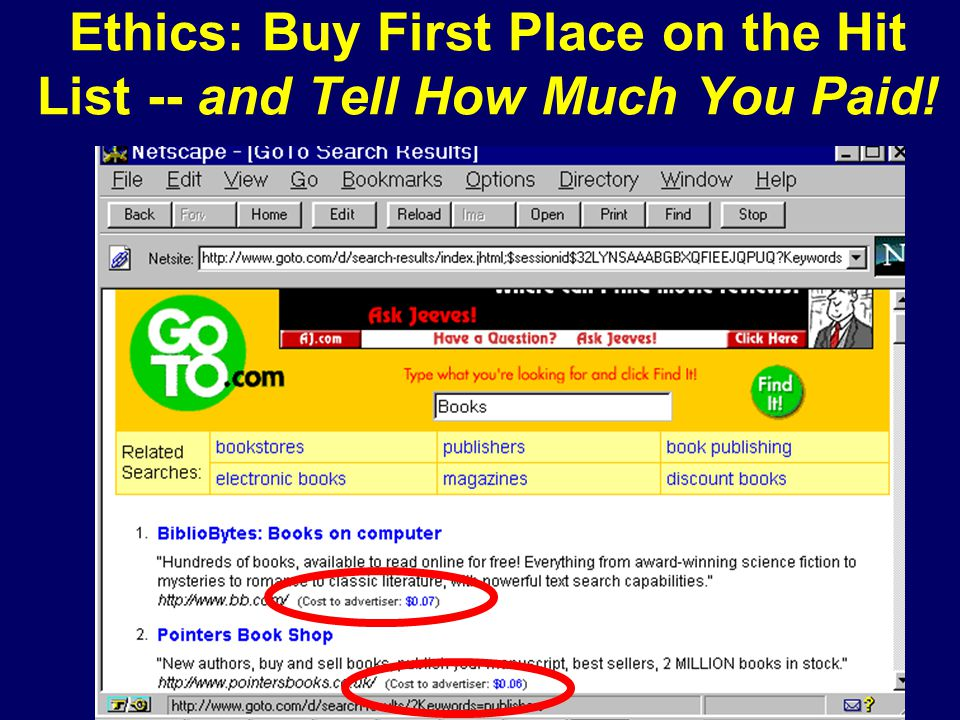 Ethics: Buy First Place on the Hit List -- and Tell How Much You Paid!