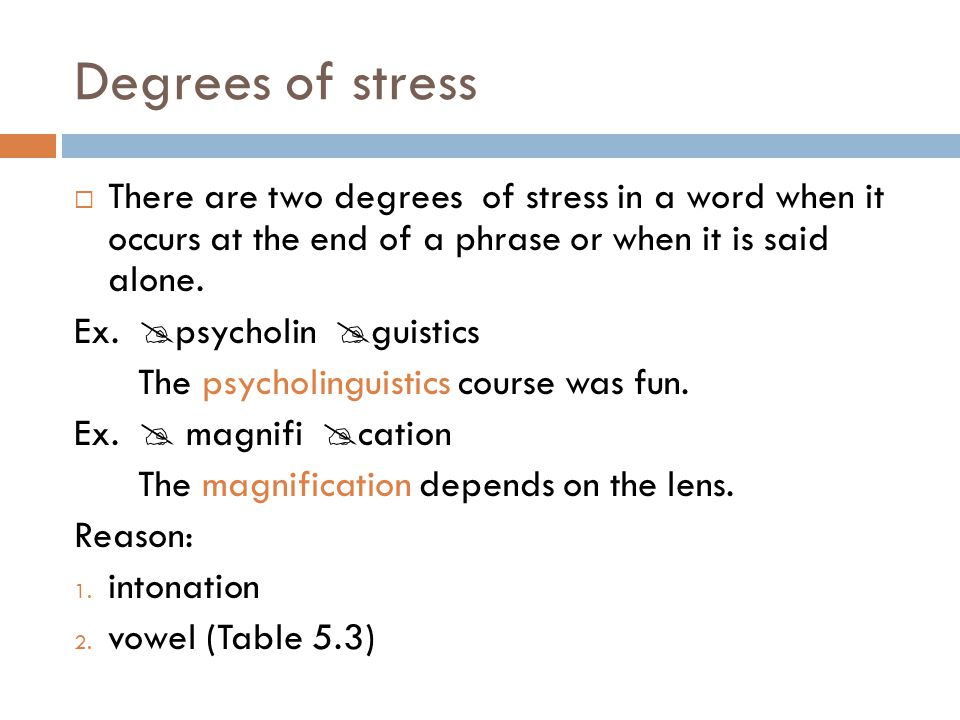 Degrees of stress  There are two degrees of stress in a word when it occurs at the end of a phrase or when it is said alone. Ex.  psycholin  guisti
