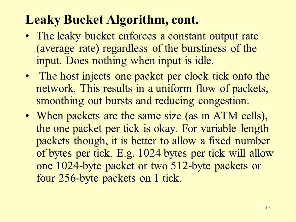 15 Leaky Bucket Algorithm, cont.