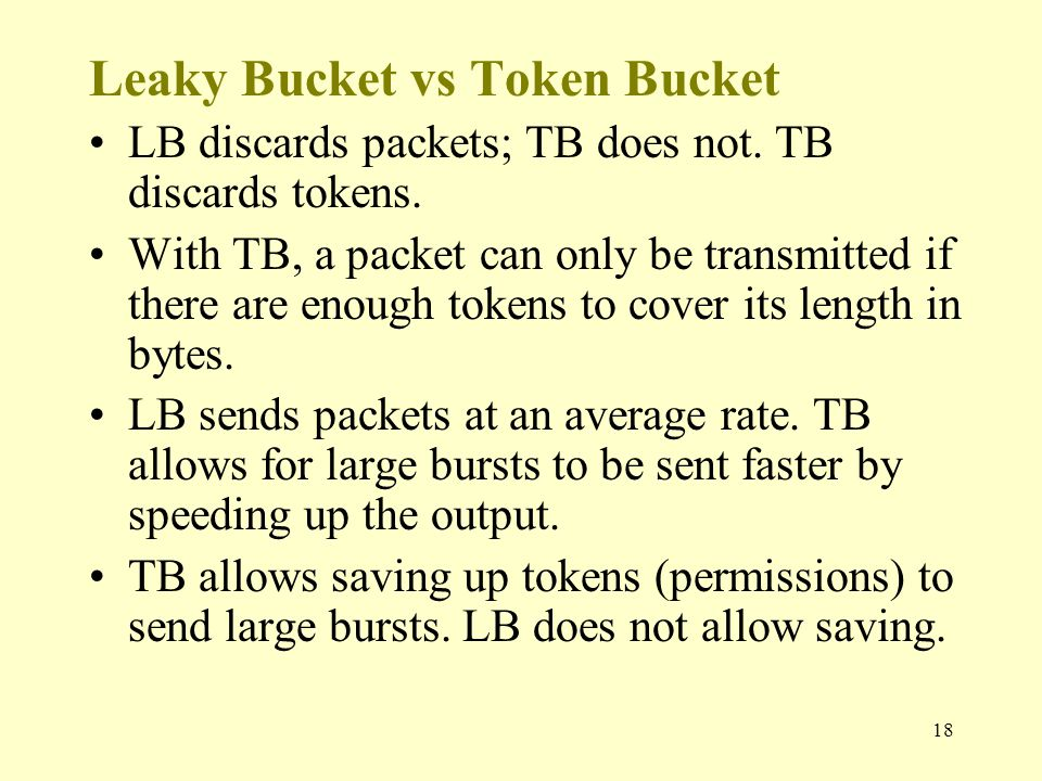 18 Leaky Bucket vs Token Bucket LB discards packets; TB does not.