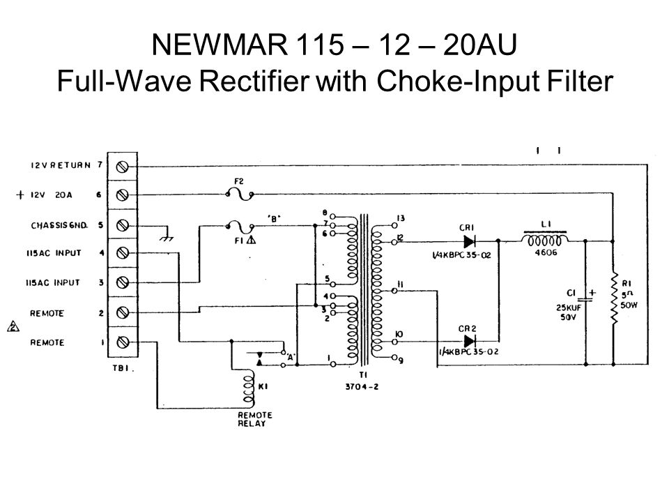 NEWMAR 115 – 12 – 20AU Full-Wave Rectifier with Choke-Input Filter