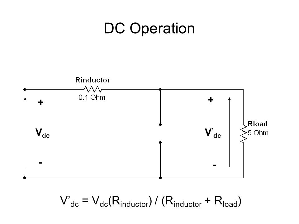 DC Operation V dc + - V ' dc + - V' dc = V dc (R inductor ) / (R inductor + R load )