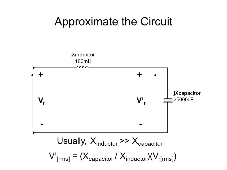 Approximate the Circuit VrVr V' r - + - + V' [rms] = (X capacitor / X inductor )(V r[rms] ) Usually, X inductor >> X capacitor