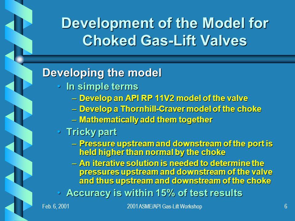 Feb. 6, 20012001 ASME/API Gas-Lift Workshop6 Development of the Model for Choked Gas-Lift Valves Developing the model In simple termsIn simple terms –