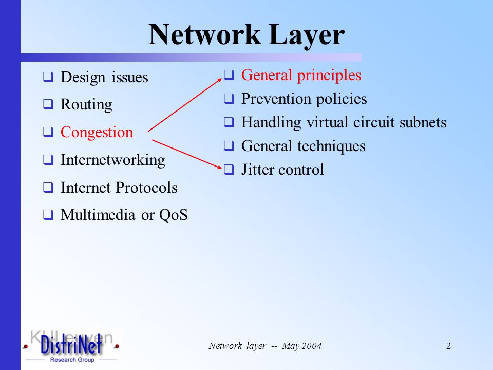 Network layer -- May 20042 Network Layer  Design issues  Routing  Congestion  Internetworking  Internet Protocols  Multimedia or QoS  General p