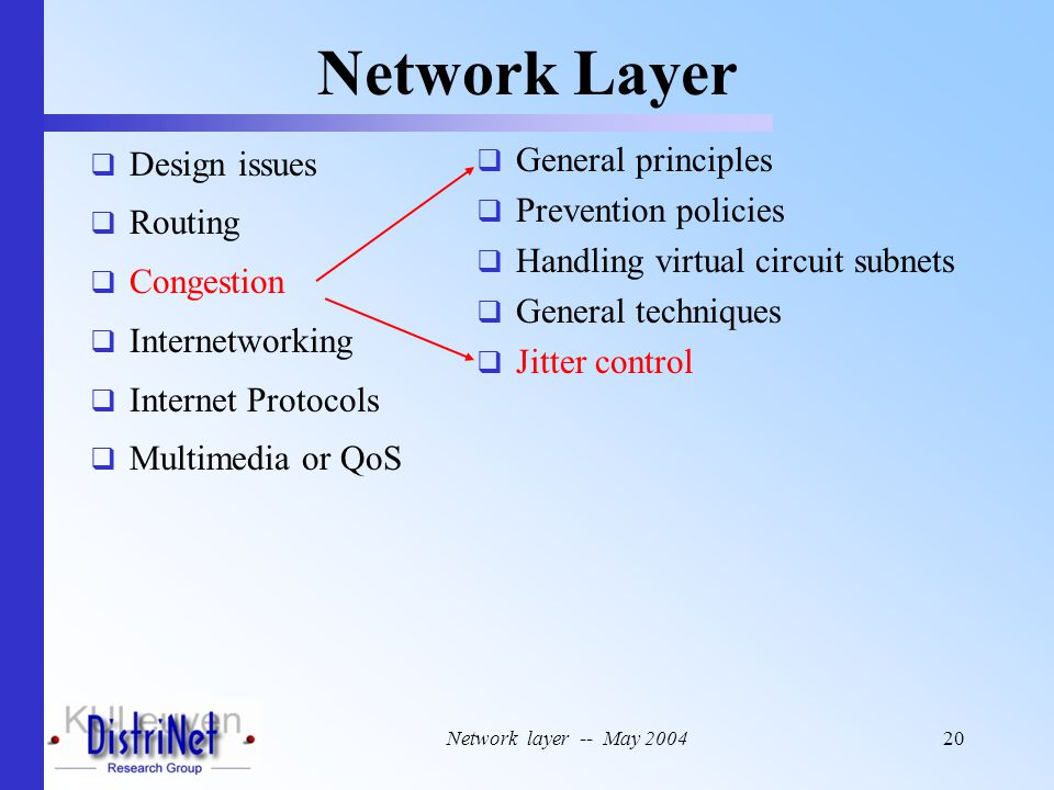 Network layer -- May 200420 Network Layer  Design issues  Routing  Congestion  Internetworking  Internet Protocols  Multimedia or QoS  General